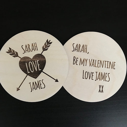 Heart and Arrows - Personalised Valentine Card/Disc