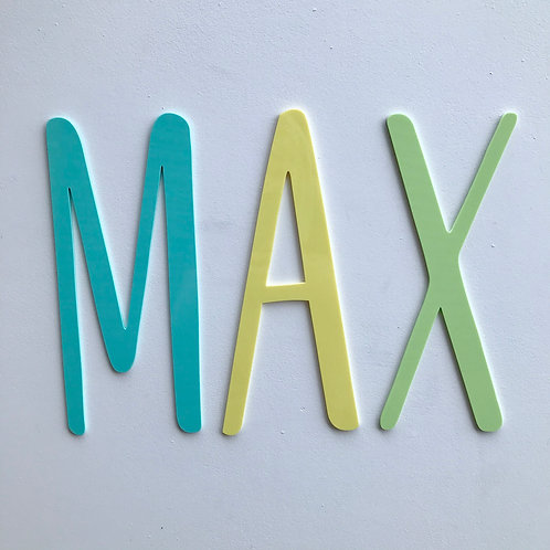 "SAMPLE - ""MAX"" - Comet font - Acrylic coloured"