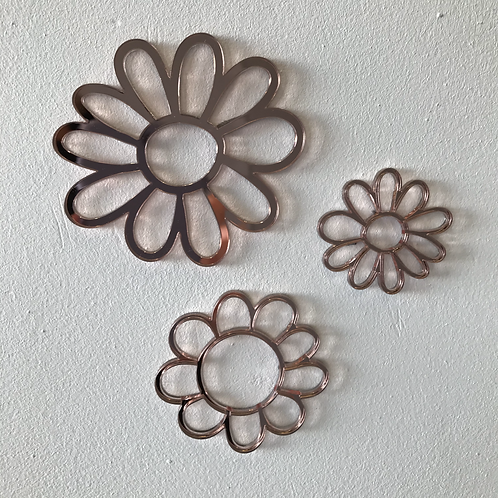 SAMPLE - Set of 3 Flowers - Rose Gold - Clear Centres