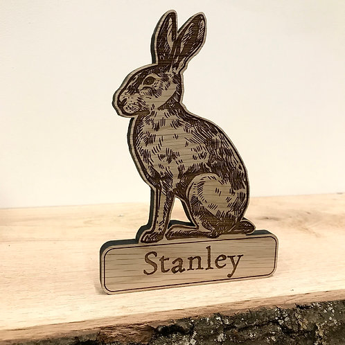Personalised Hare Standing Decoration