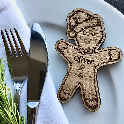 Personalised Christmas Gingerbread Man Place Name/Table Decoration - Oak