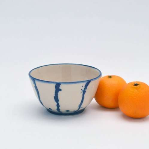 Cream and blue bowl small
