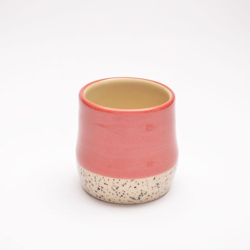 Red pot with bark pattern