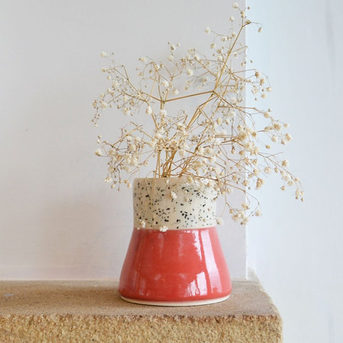 Small bark patterned and red bud vase