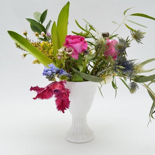 White fluted stem vase