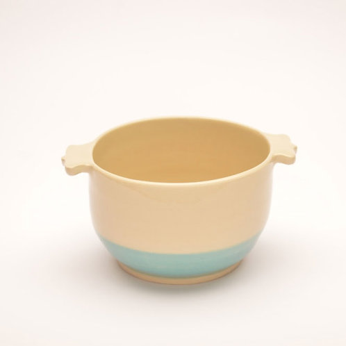Cream and turquoise soup bowl