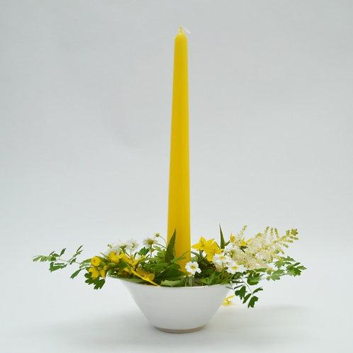 Flower dish candle holder
