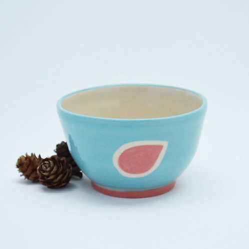 Turqouise bowl with red leaf design