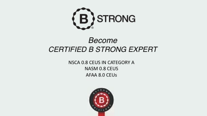 B Strong Certification for Trainer & Physical Therapist