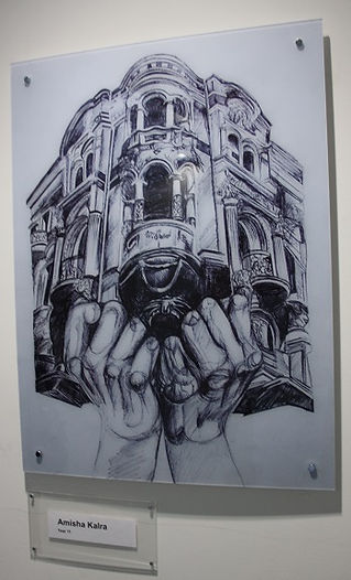 'Building in two hands' charcoal sketch_