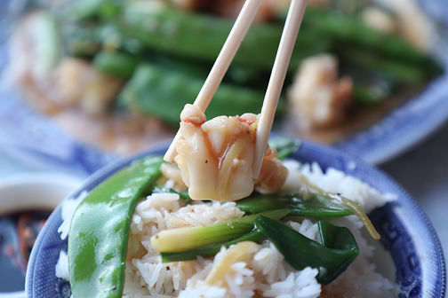 Lobster Tails Stir Fry with Snow Peas & Ginger Sauce
