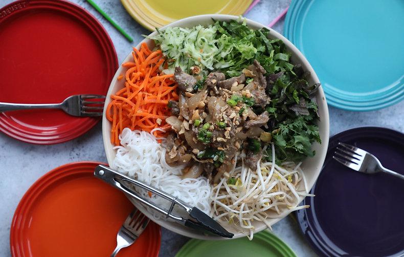 Vietnamese Beef Noodle Salad Bowl - Bún Bò Xào