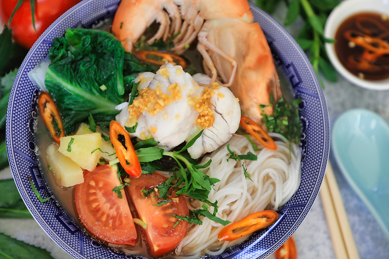 Vietnamese Sweet and Sour Fish Soup with Noodles - Canh Chua Ca