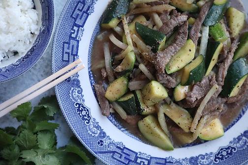 Kohlrabi, Zucchini & Beef Stir Fry