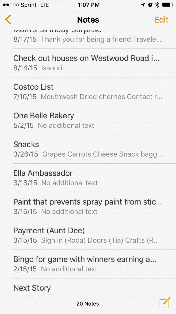Notes from my phone - Ella Ambassador added on 3/18/15