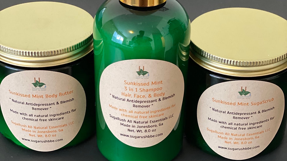 Sunkissed Mint Bundle includes 1 -suga scrub ,1 - body butter , 1 - 3in1 Shampoo