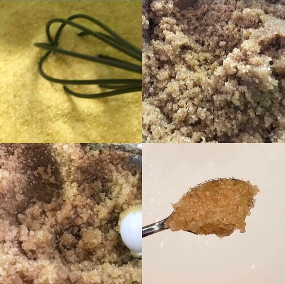 The process of creating our sugar scrub! Sugar scrubs are created & used to exfoliate the skin.