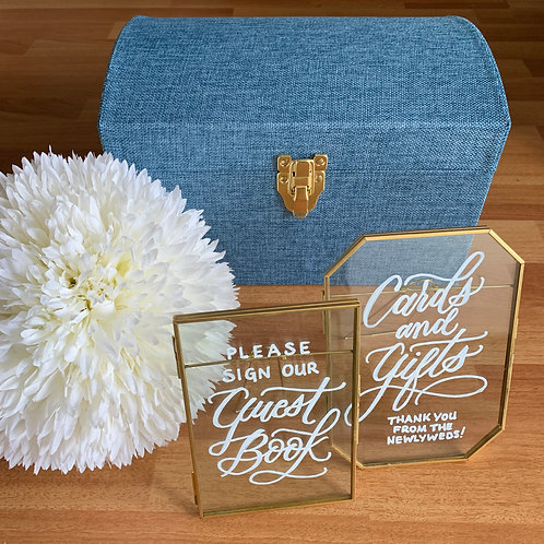 Brass 'Cards and Gifts' and 'Guestbook' set