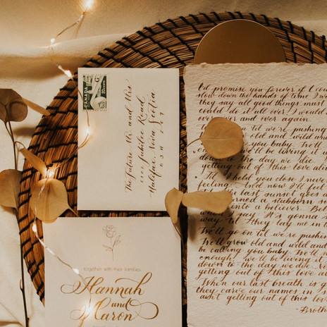 Calligraphy wedding invitation suite and quote