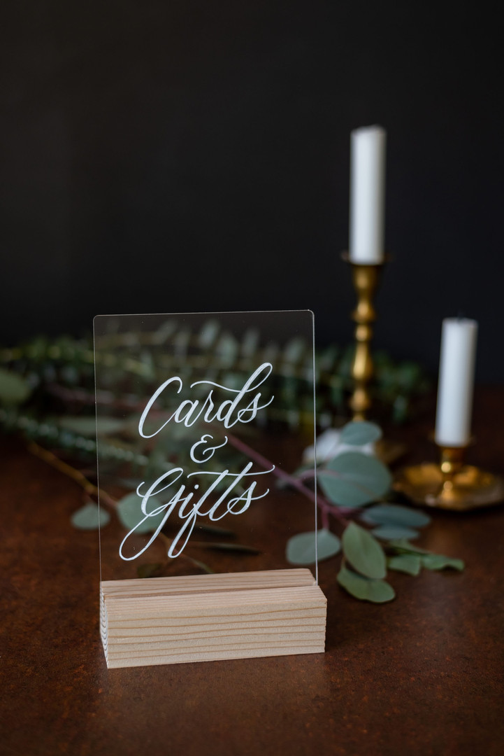 Cards and Gifts acrylic wedding sign with wooden base