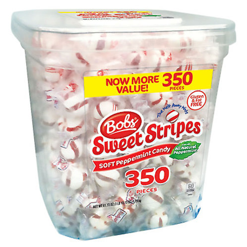 Bobs Sweet Stripes Soft Peppermint Candy 350ct. Bucket