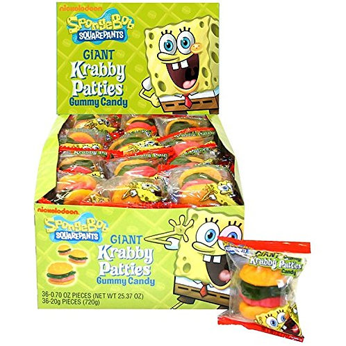 Spongebob Squarepants Giant Krabby Patties Gummy Candy 36ct.