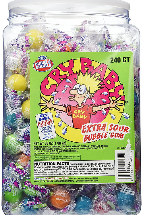 Cry Baby Nitro Sours Extra Sour Bubble Gum 200ct