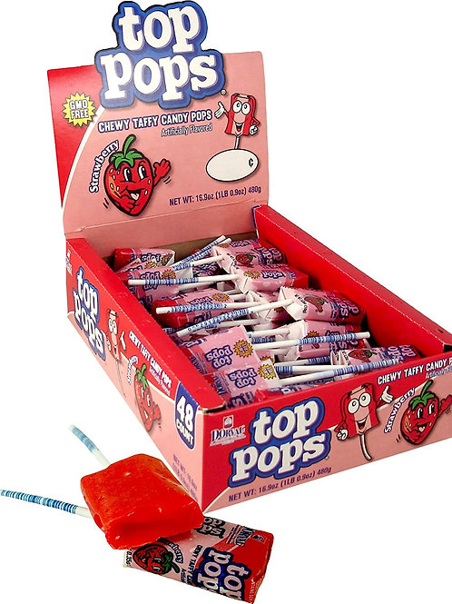 Top Pops Taffy Pops Strawberry 48ct
