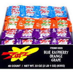 Zots 3 Flavor Pack Blue Raspberry Orange Grape 48ct.