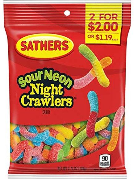 Sathers Sour Neon Night Crawlers 12ct. Box
