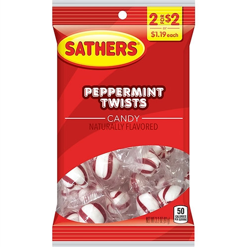 Sathers Peppermint Twists 12ct. Box