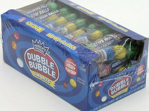 Dubble Bubble Tube Gum Balls Candy 36ct.
