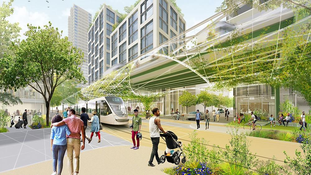 New York City'deki Brooklyn-Queens Otoyolu'nu otonom araçlar için ayrılmış bir koridora dönüştürme vizyonunun kavramsal sunumu; bu, cadde alanının yayalar, sürdürülebilir ulaşım ve daha yeşil bir kentsel peyzaj için geri kazanılmasına olanak tanıyor. © SOM