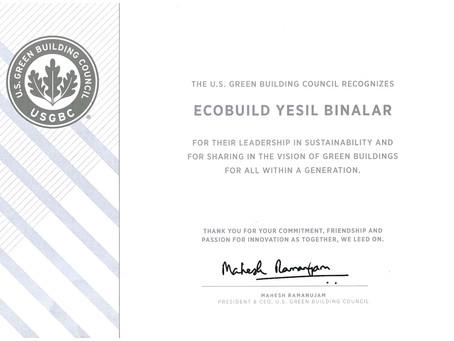 ECOBUILD, USGBC TarafındanYeşil Bina Lideri Olarak Ödüllendirildi