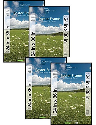"Mainstays 24x36"" Basic Poster & Picture Frame Black, Set of 4"