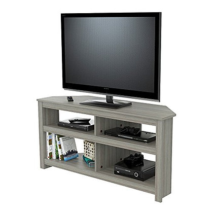 Inval Corner TV Stand, Smoke Oak