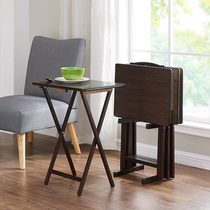 Brown 5-Piece Folding TV Tray Table Set (4 Trays, 1 Stand)