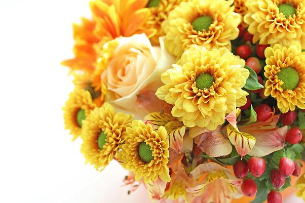 Bouquet of autumn flowers with pumpkin.jpg