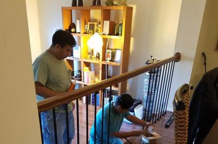 """Custom cast iron railing to go with new ScufResist 3 1/4"""" wide solid oak floor by Shaw Industries with lifetime limited wear warranty"""