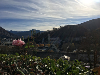 Vue sur le sanctuaire de Lourdes depuis le centre assomption