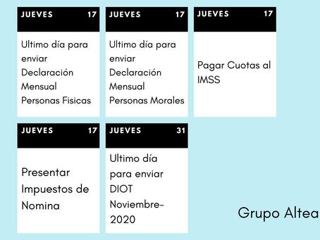 Conoce el Calendario Fiscal Diciembre 2020