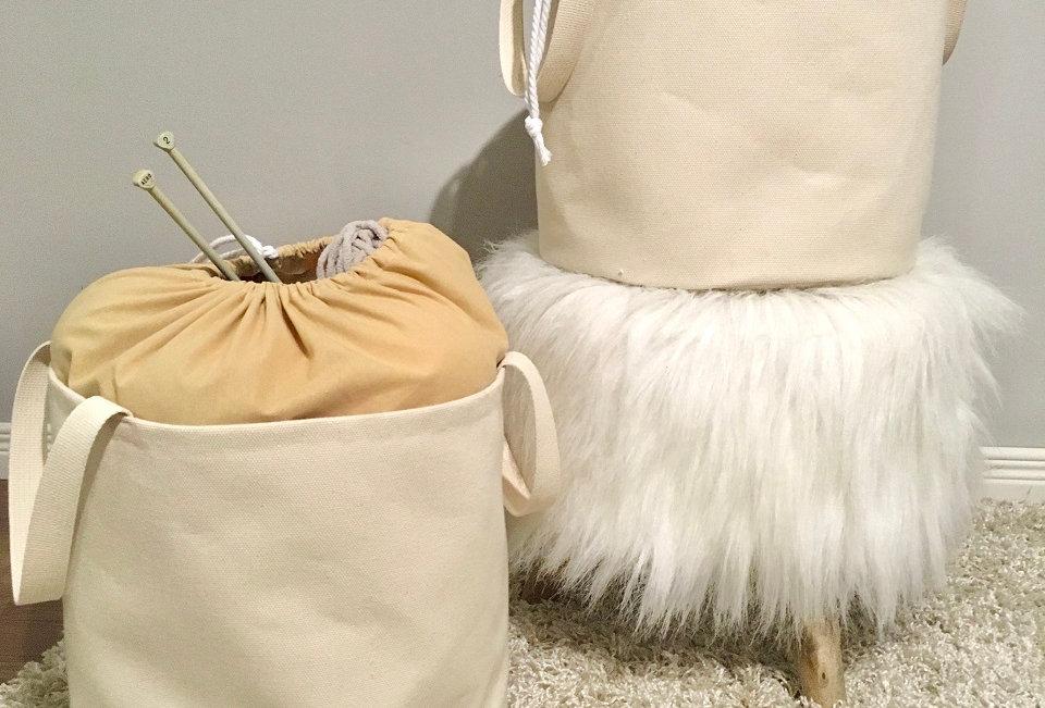 Log Cabin Sewing Bucket Bag