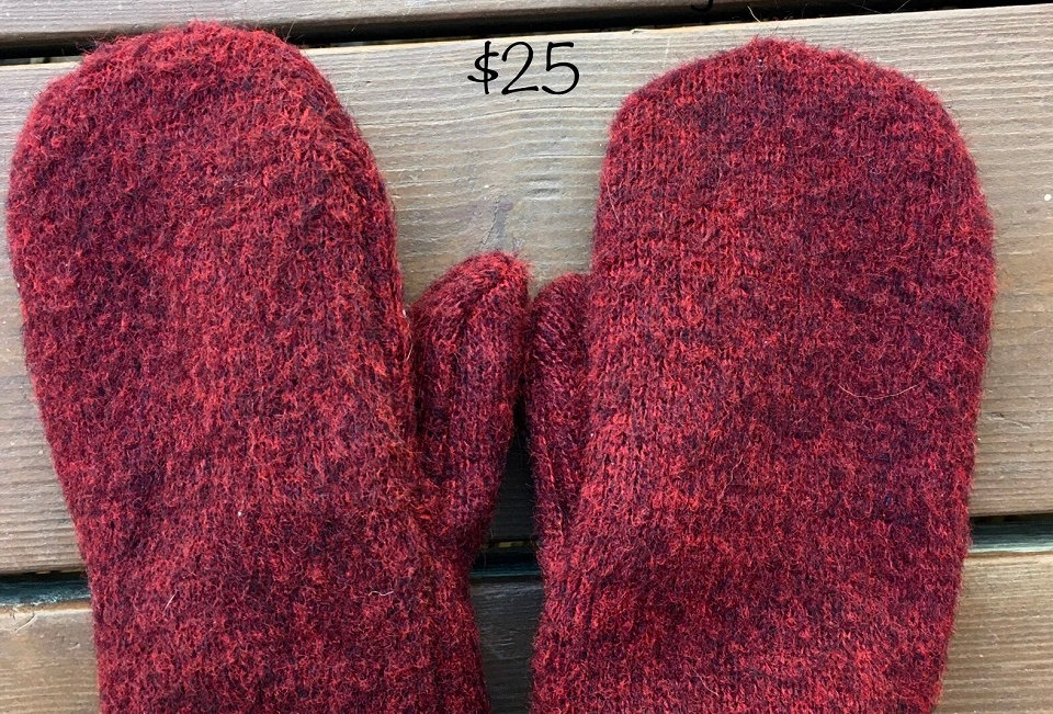Log Cabin Sewing Upcycled Mittens
