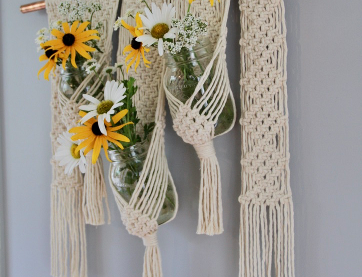 Larks and Cotton Canada Macramé  Wall Hanging ~Diamonds and Daisies