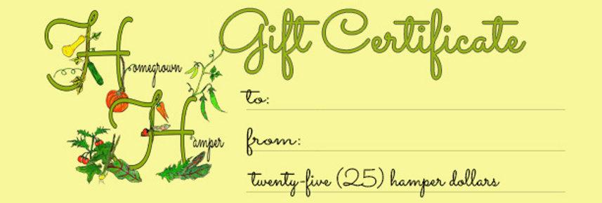 Homegrown Hamper gift certicate
