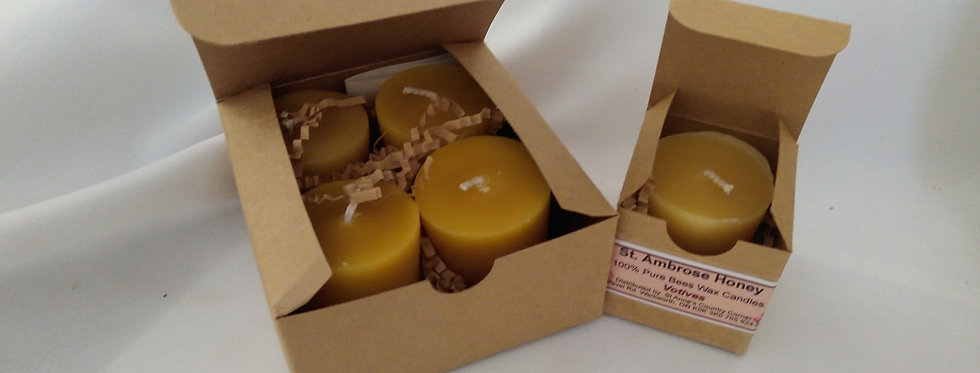 St. Ambrose Honey Beeswax Votive Candles