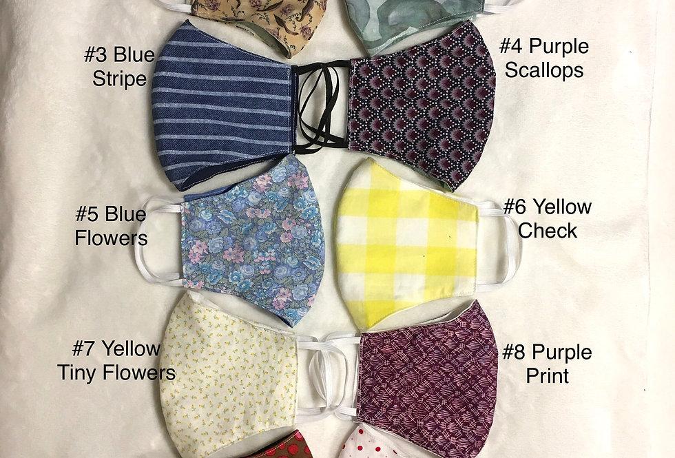 Log Cabin Sewing Cloth Masks -- elastic ties