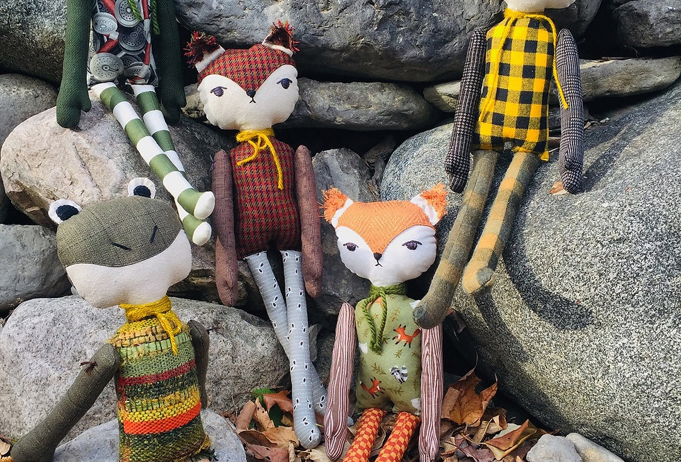 Hello Jane Rag Dolls -- Foxes and Bullfrogs