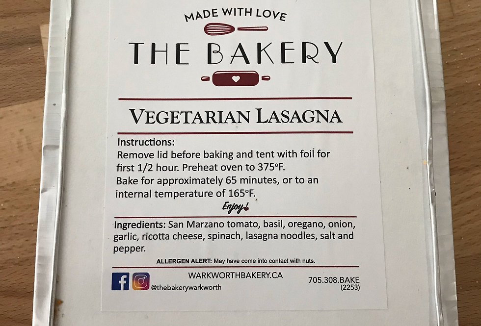 The Bakery Warkworth Vegetarian Lasagna