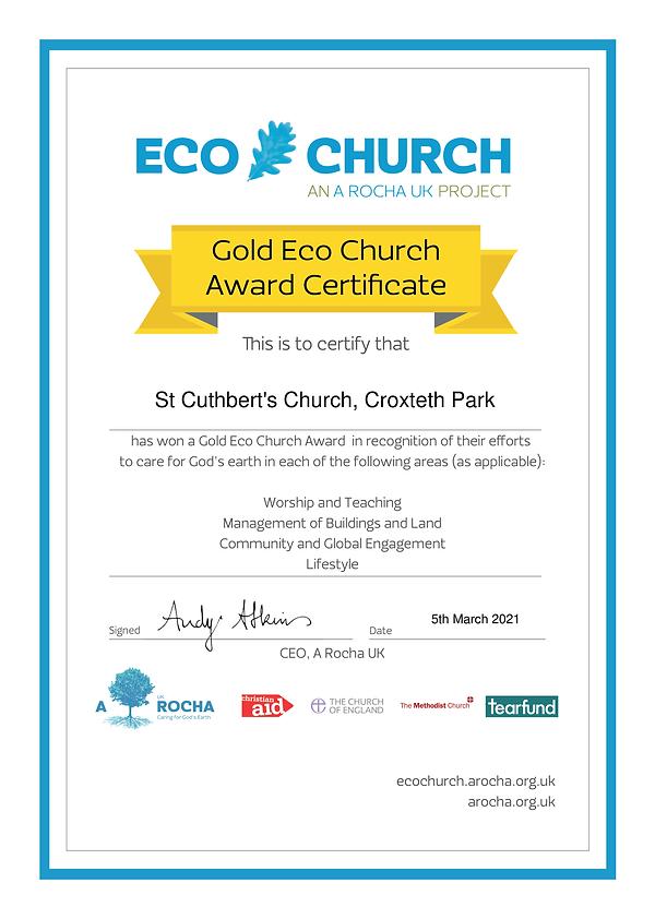 Eco Church Award Certificate Gold - St C